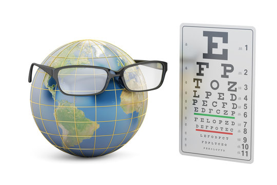 World Sight Day concept, eyeglasses with Earth globe and eye test chart. 3D rendering