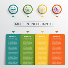 Infographics design template, color buttons and 4 plates shapes