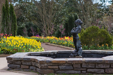 Sarah P. Duke gardens during spring with vibrant flower plantings.