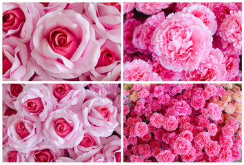 set of wedding bouquet with rose bush, Ranunculus asiaticus as a background