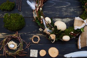 Flat lay with natural materials for handcrafted Easter decoration