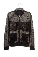 black transparent jacket is made is of mesh
