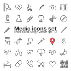 Medic, medicine, health care linear icons set, vector illustration of human organs.