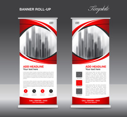 Red Roll up banner template vector, advertisement, x-banner, poster, pull up design, display, layout , business flyer
