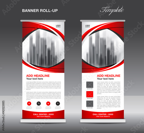 Roll up banner stand template, advertisement, flyer design, vector