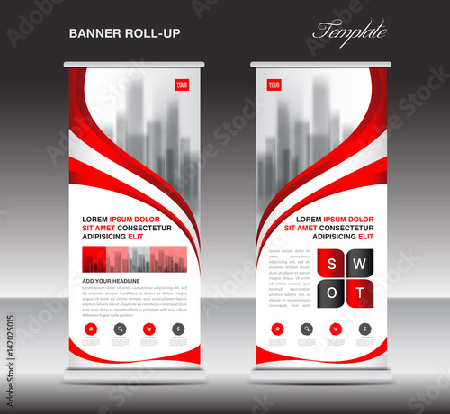 red roll up banner stand template poster display. Black Bedroom Furniture Sets. Home Design Ideas
