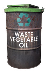 Restaurant vegetable oil recycling barrel. Isolated.