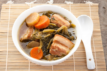 Chinese vegetable stew in the pot cooked by Thai people (Jabchai)