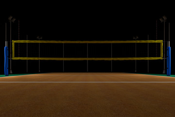 Volleyball arena at night