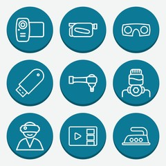 Set of 9 device outline icons