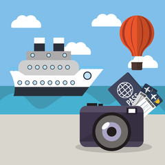 vacations ship airoon tickets passport concept vector illustration eps 10