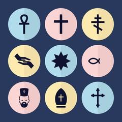 Set of 9 god filled icons