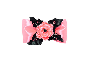 Wall Mural - Kanzashi. Pink artificial flower on a bow isolated on white back