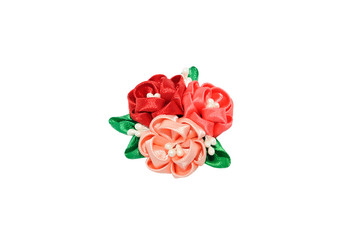 Wall Mural - Kanzashi. Red, peach, purple artificial flowers isolated on whit