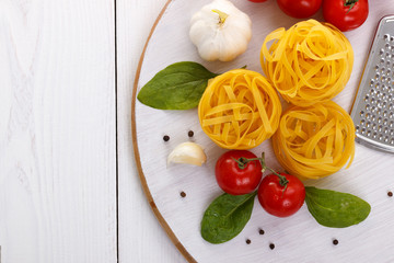 Top view of raw pasta