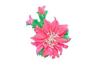 Wall Mural - Kanzashi. Pink artificial flower isolated on white background