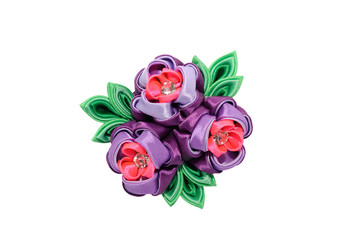 Wall Mural - Kanzashi. Pink purple artificial flower isolated on white backgr