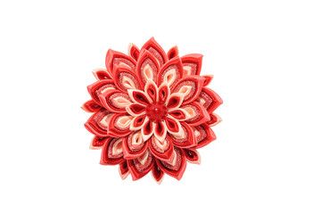 Wall Mural - Kanzashi. Red artificial flower isolated on white background