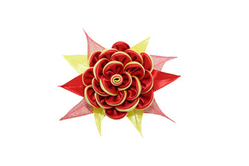 Wall Mural - Kanzashi. Red yellow artificial flower isolated on white backgro
