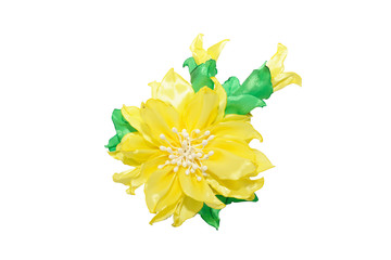 Wall Mural - Kanzashi. Yellow artificial flower isolated on white background