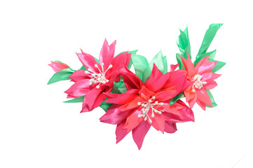 Wall Mural - Kanzashi. Red pink artificial flower isolated on white backgroun