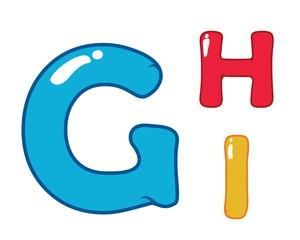 Modern Cute Eye Candy Balloon Alphabet Letter Set - G, H, I