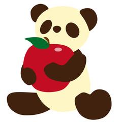 リンゴを持ったパンダのぬいぐるみ