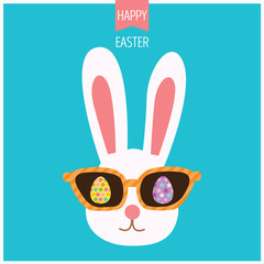 Illustration vector of bunny easter with sunglasses and eggs  in hipster style.