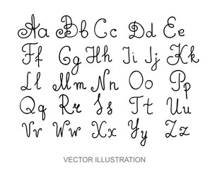 Hand drawn alphabet letters written with a pen, vector of calligraphy font
