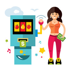 Vector Slot machine and Girl. Game of Chance. Flat style colorful Cartoon illustration.