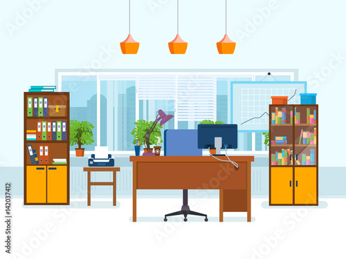 Office interior of the room with working furniture for Dibujo de una oficina moderna