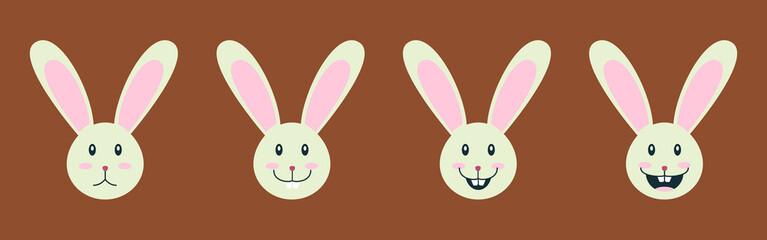 Easter holidays bunny emoticon. Elegant vector design of positive rabbit emojis