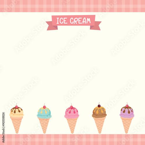 "Cute Ice Cream Background: ""Vector Of Cute Ice-cream Cone Menu Template Decorated"