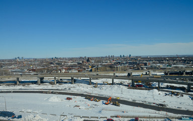 Aerial view of the Turcot project, The interchange is a hub for road traffic in Montreal interconnecting highways 15, 20 & 720, facilitating access to the Champlain Bridge.