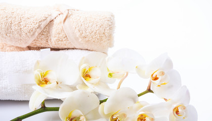 White orchid and towels on white background