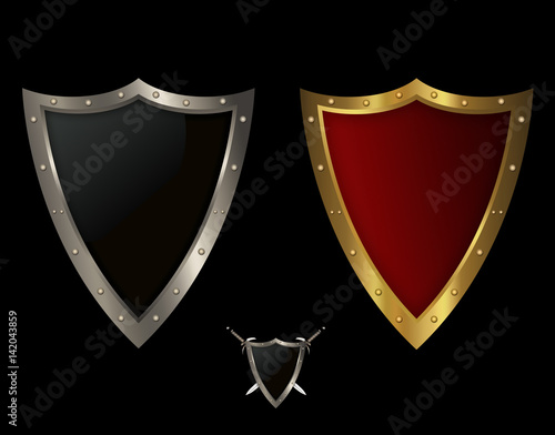 """""""Two medieval shields on black background."""" Stock photo ..."""