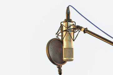Microphone recording room Pop Filter Isoled White background