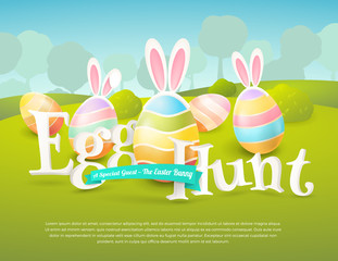 Vector cute poster for Easter Egg Hunt with colored eggs and ears of a bunny. Cartoon spring scene with place for text. Holiday background for flyers and banners design.