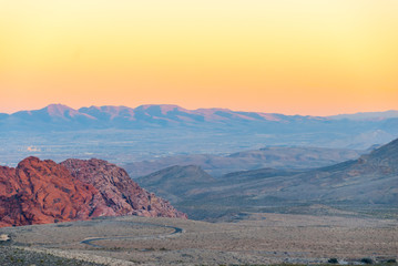 Red Rock Canyon Conservation Area at Dusk with Las Vegas Valley in the distance