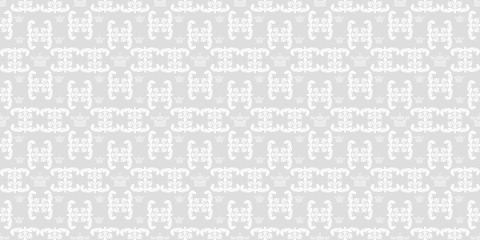 Vector seamless pattern. Vintage stylish texture. Grey and white color. Design wallpaper, decoration pattern repeating, pattern for graphic design.