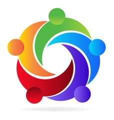 Logo teamwork embraced people