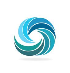 Blue beach waves icon logo