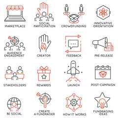 Vector set of 16 thin icons related to crowdfunding, crowdsourcing, fundraising and support. Mono line pictograms and infographics design elements