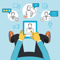 Vector linear flat concept of communication, negotiation, interaction with customers and users through a mobile applications or web technology