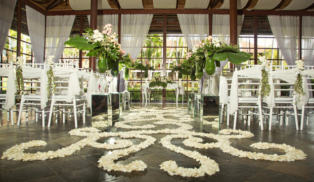 Romantic wedding setup in the gazebo