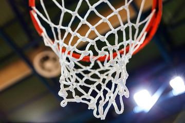 Basketball hoop and net closeup