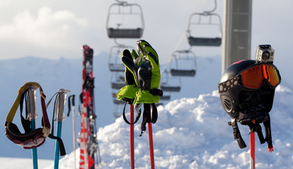 Protective sports equipment on ski poles at ski resort