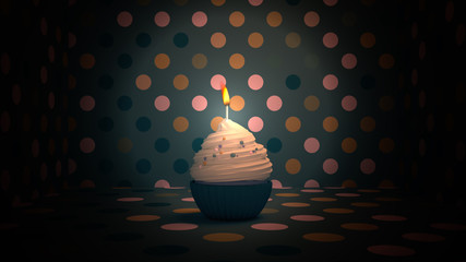 3d rendering picture of birthday cupcake.