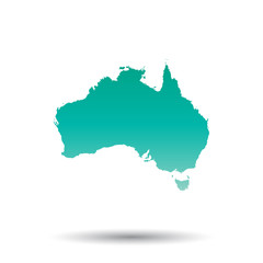 Australia map. Colorful turquoise vector illustration on white isolated  background.