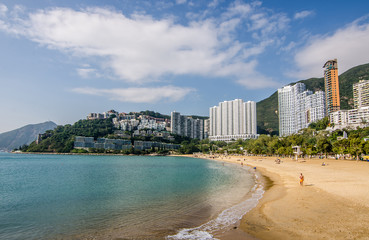 The sunny day at Repulse Bay, the famous public beach in Hong Kong